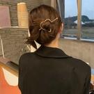 髮簪 韓國ins金屬發簪鏤空愛心珍珠簪子優雅簡約發卡盤發頂夾發飾品女【快速出貨八折下殺】