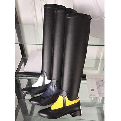 長靴-舒適低跟時尚撞色真皮騎士女過膝靴4色71ab35【巴黎精品】