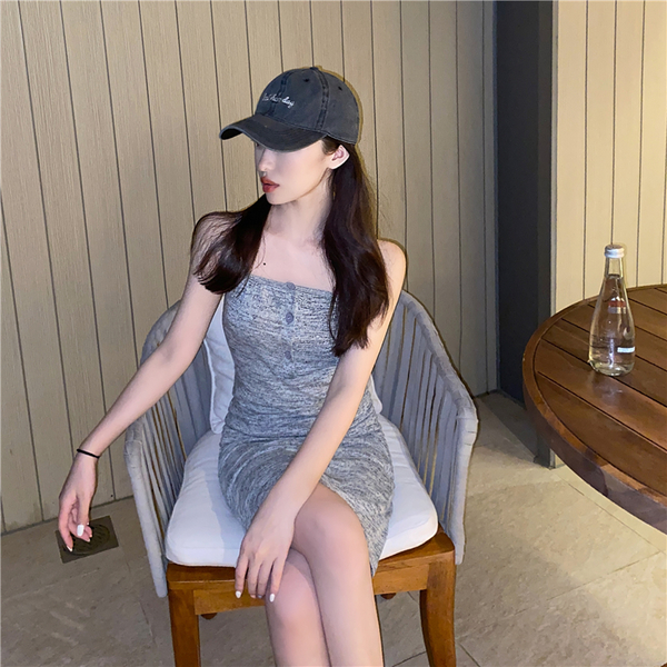 VK旗艦店 韓國風休閒平口百搭顯瘦包臀無袖洋裝