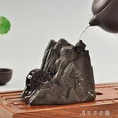 紫砂茶寵招財豬創意高山流水水車輪茶具配件精品擺件手工茶玩「千千女鞋」