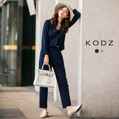 東京著衣【KODZ】率性俐落前V設計上衣長褲套裝-S.M.L(171994)