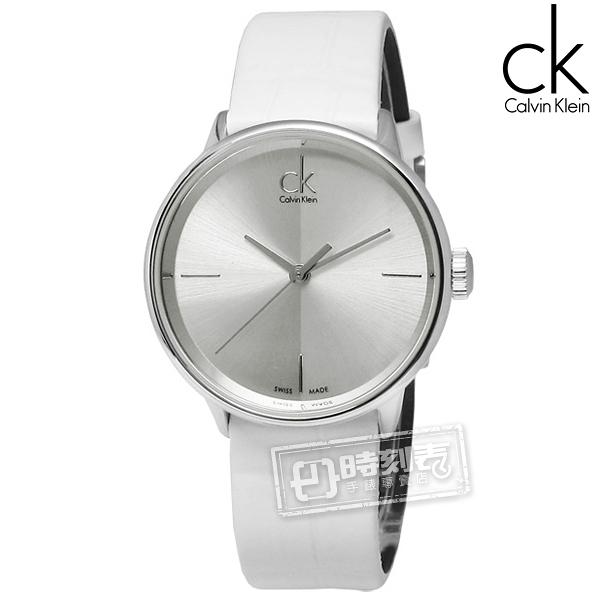 CK / K2Y2Y1K6 / Accent 極簡約時尚瑞士機芯皮革手錶 銀x白 31mm