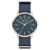 Armani Exchange男Cayde藍色尼龍錶帶手錶