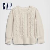 Gap女幼童 時尚絞花織紋圓領針織衫 609701-象牙白