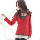 質感針織衫--率真層次色彩百分百-配色假三件式排扣針織衫(黑.紅.藍S-XL)-U11眼圈熊中大尺碼