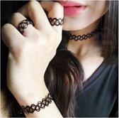 TwinS新款日本原宿仿刺青紋身項圈手環戒指三件套裝 復古性感項鍊