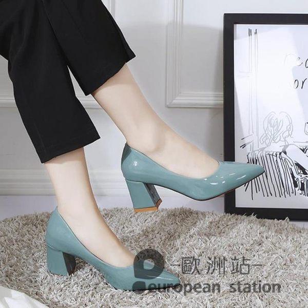 高跟鞋/夏季新款韓版百搭網紅粗跟尖頭淺口漆皮上班單鞋女中跟