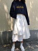 黑白配超美一粒扣棉布拼接不規則層疊裙擺A字裙半 伊蒂斯女裝
