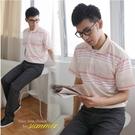 【大盤大】(P68108) 男 橫條紋POLO衫 台灣製 短袖棉衫 翻領休閒衫 透氣半袖衫 禮物【剩M和XL號】