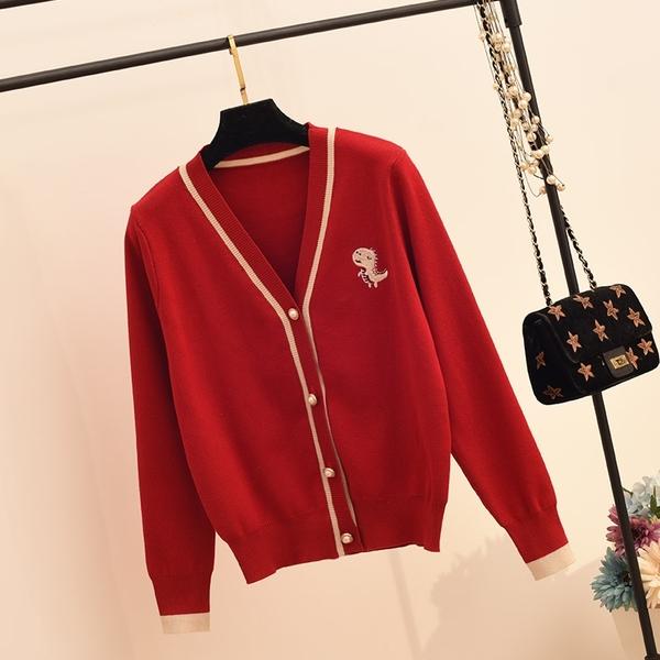 針織開衫 春秋新款小香風上衣女針織開衫V領毛衣外套寬松大碼外搭疊穿撞色