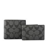 【COACH】C LOGO防刮皮革短夾/附證件收納夾(黑灰) F74993 CQ/BK