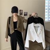 西裝外套 秋季2020新款女裝韓版時尚設計感短款顯瘦上衣洋氣長袖小西裝外套 伊蘿