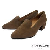 Tino Bellini西班牙進口溫潤全真皮樂福中跟鞋_灰綠 VI8528 歐洲進口款
