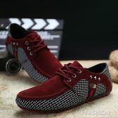 春夏季新款男士豆豆鞋英倫潮流男鞋子系帶日常休閒鞋男駕車鞋-ifashion