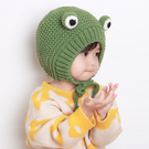 寶寶毛線帽子秋冬季萌哒可愛韓國手工嬰兒護耳帽兒童卡通青蛙帽子