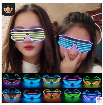LED發光眼鏡百葉窗助威派對酒吧KTV舞臺錶演禮品玩具助興氣氛用品 交換禮物
