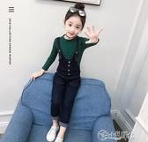 女童吊帶褲 秋季新款女童時髦牛仔吊帶褲套裝2019秋裝洋氣兒童兩件套韓版
