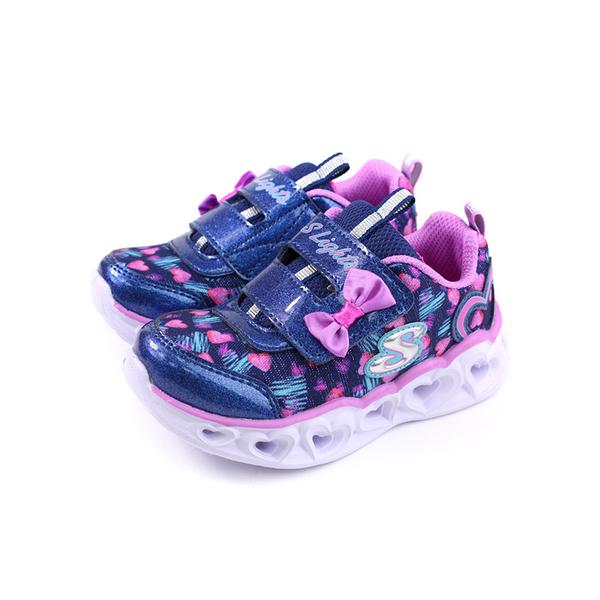SKECHERS S Lights 運動鞋 電燈鞋 魔鬼氈 小童 童鞋 藍紫色 20264NNVLV no039