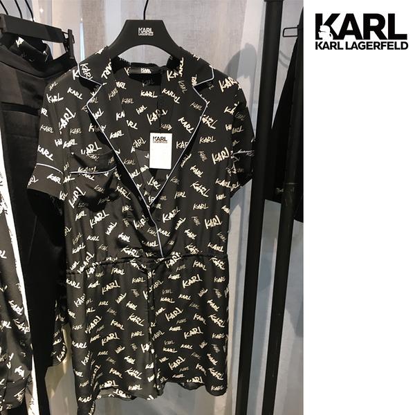 【KARL LAGERFELD】真絲字母印花連身短褲-黑 (原廠公司貨)