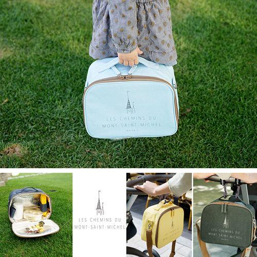 【韓國創意品牌 invite.L】新款時尚高質感拉鍊設計 保冷袋 保溫袋 餐盒袋 便當袋 手提包 肩揹包
