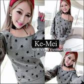 克妹Ke-Mei【ZT42518】歐美外貿單 五角星星T字口袋厚刷毛露肩T洋裝