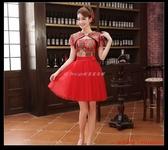 (45 Design) 定做 預購7天到貨  新款新娘結婚禮服旗袍敬酒服大碼紅色冬包肩短款顯瘦