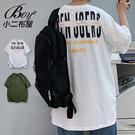男短T 休閒後背字母印花五分短袖上衣【N...