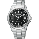 CITIZEN 星辰 限量 光動能電波萬年曆手錶-黑x銀/39mm CB1090-59E