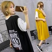 假兩件中長款過膝短袖T恤女2019夏韓版寬鬆雙層領t恤裙字母連身裙
