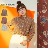 長袖 襯衫 Space Picnic|復古滿版小花長袖雪紡襯衫(現貨)【C19123032】
