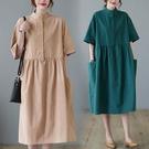 大碼女裝夏季2021新款寬鬆胖mm洋氣減齡時尚中長款文藝短袖連身裙 中大尺碼短袖洋裝
