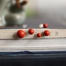 東方美學古典優美紅硃砂18K黃金耳釘(8mm)/設計家