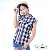 Victoria 格紋落肩短袖襯衫-女-藍白格紋