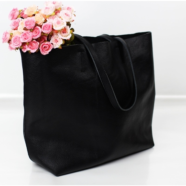 真皮托特包-經典黑色牛皮肩背女手提包73vi3【時尚巴黎】