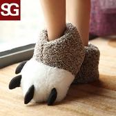 卡通熊掌爪子棉拖鞋冬男女情侶韓版居家室內可愛動物包跟毛絨拖鞋