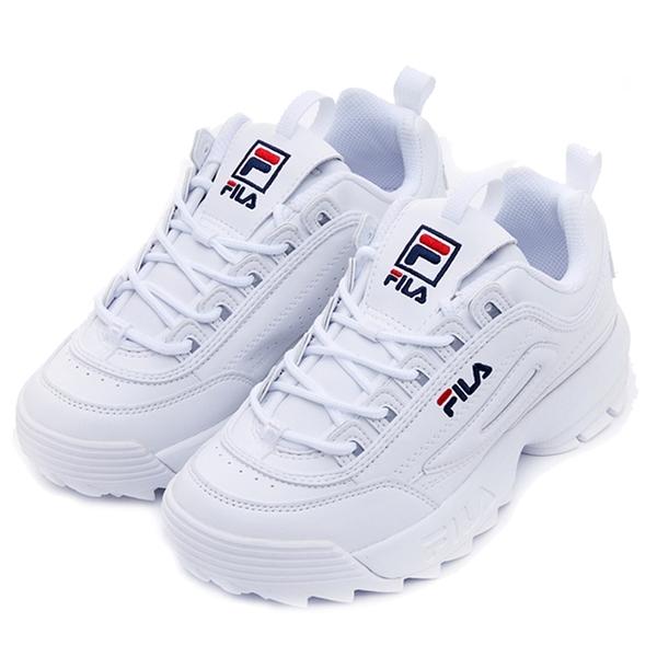 【現貨】FILA DISRUPTOR II 女鞋 老爹鞋 鋸齒鞋 厚底 增高 皮革 白【運動世界】4-C113V-125