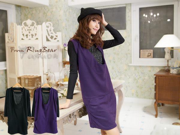棉T Ringbear眼圈熊-優雅大方.兩件套設計連衣裙+貼鑽圓領T恤A129(黑、紫M-2L)