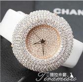 潮流手錶女錶大錶盤滿鑽水鑽皮帶錶韓國流行時裝錶夜店女生錶新年下殺