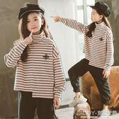 女童條紋打底衫 女童半高領打底衫冬寬鬆大碼長袖t恤兒童加絨加厚條紋體恤 宜室家居
