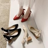 復古高跟鞋女粗跟2020年春夏季新款網紅蝴蝶結百搭尖頭中跟涼鞋女