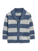 Gap 嬰兒男嬰 布萊納小熊刺繡系列柔軟條紋翻領長袖開襟針織衫 473854-海軍藍色