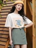 綠色高腰半身裙女夏季2020新款韓版顯瘦修身a字裙子包臀短裙潮 提拉米蘇