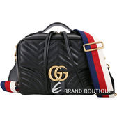 GUCCI GG Marmont 山形絎縫皮革肩背兩用包(黑色) 1740343-01