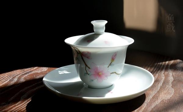 [協貿國際]景德鎮手繪粉彩三才蓋碗陶瓷茶具茶杯泡茶碗白瓷玉蘭