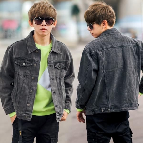 外套 韓國製立體鋼印水洗黑灰色高磅牛仔外套【NB0918J】