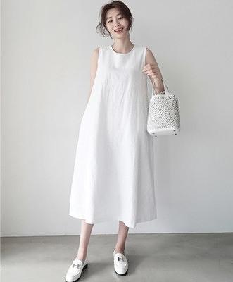 洋裝 無袖洋裝 棉麻連身裙 寬鬆顯瘦長款無袖亞麻背心裙659DC261依佳衣