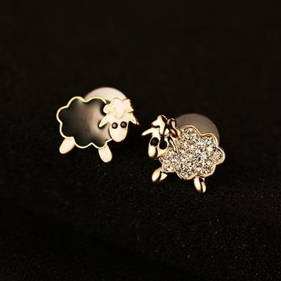 耳環 玫瑰金純銀鑲鑽-可愛小羊生日情人節禮物女飾品2色73ca149【時尚巴黎】