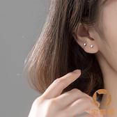 s925銀時尚簡約光面長方塊形耳釘女氣質小巧幾何耳飾品【宅貓醬】