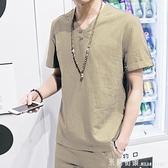 夏季棉麻體恤男士亞麻短袖T恤潮流中國風新款休閒上衣服夏裝