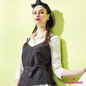 【SHOWCASE】二件式細條紋顯瘦OL背心襯衫(白)